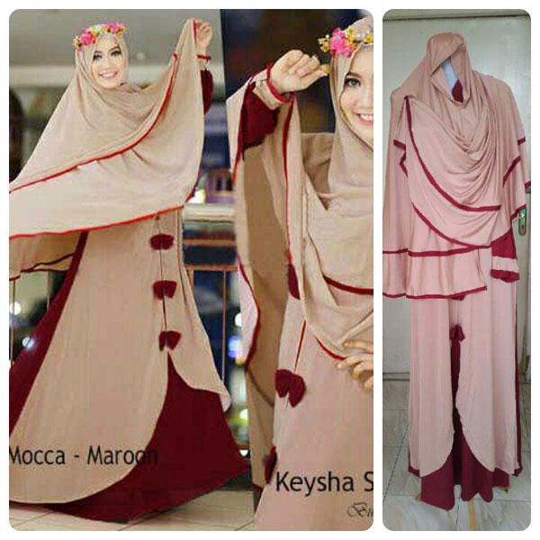 Gamis Terbaru Islami Keysha Mocca Maroon