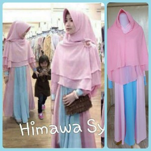Gamis Terbaru Islami Himawa Pink Biru