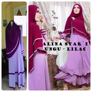 Gamis Terbaru Islami Alina Ungu Lilac