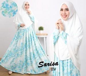 gamis terbaru islami sarisa blue white (bw)