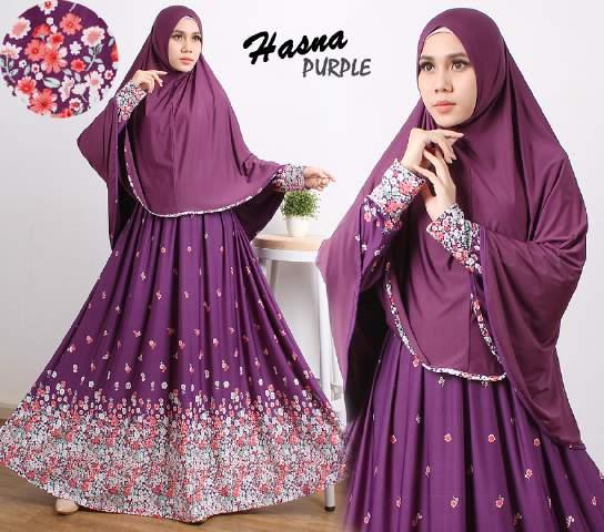 gamis terbaru islami hasna purple
