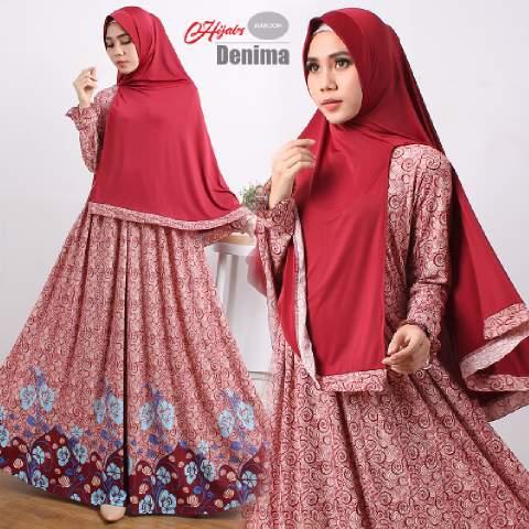 gamis-terbaru islami-denima-maroon