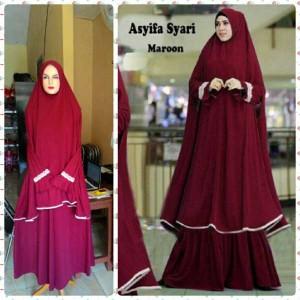 gamis islami terbaru asyifa maroon